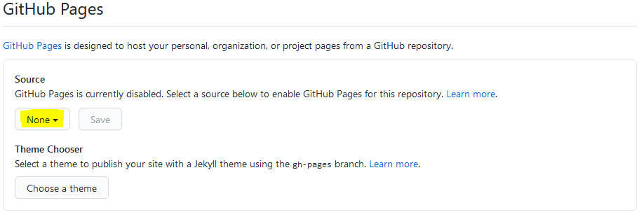 github pages settings for mkdocs